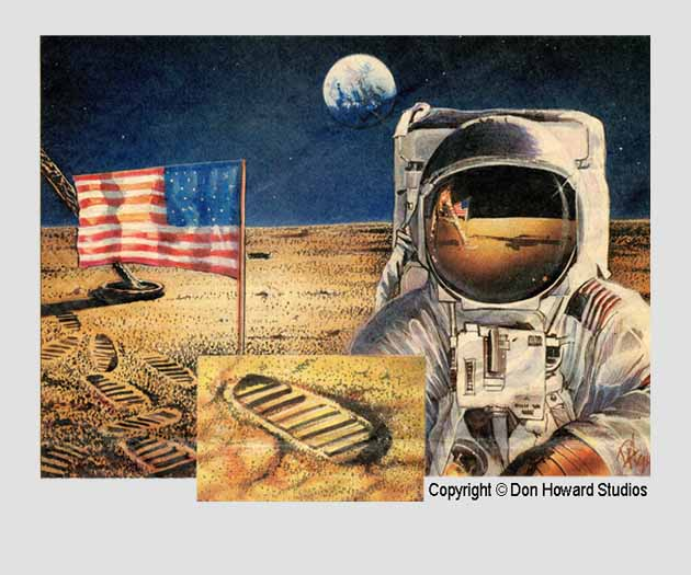 Commemorative print in celebration of the Lunar landing from Don Howard