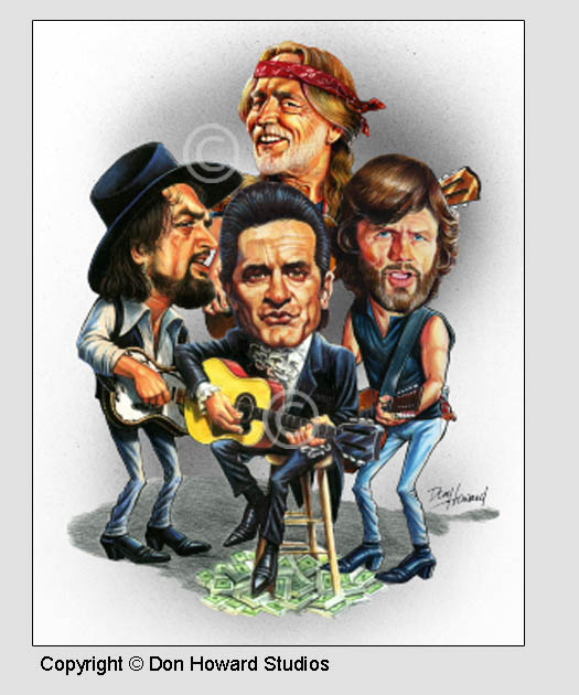Johnny Cash, Waylon Jennings, Willie Nelson and Kris Kristofferson Art Print